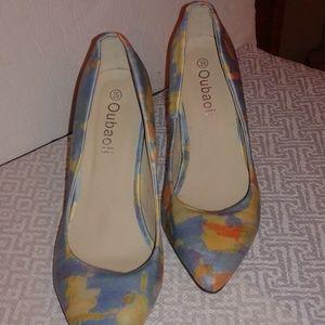 """Oubaoli women's marbel blue design heels 4"""""""